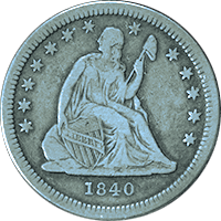 1840 O Seated Liberty Quarter