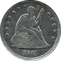 1841 Seated Liberty Quarter