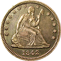 1842 O Seated Liberty Quarter