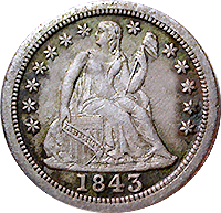 1843 O Seated Liberty Dime