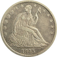 1845 Seated Liberty Half Dollar