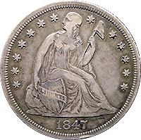 1847 Seated Liberty Dollar