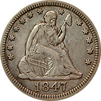 1847 Seated Liberty Quarter