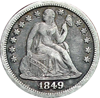 1849 Seated Liberty Dime