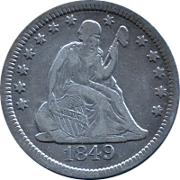 1849 O Seated Liberty Quarter