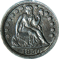 1850 Seated Liberty Dime