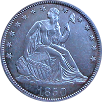 1850 Seated Liberty Dollar
