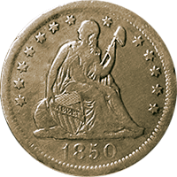 1850 O Seated Liberty Quarter