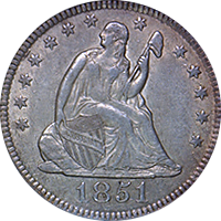 1851 O Seated Liberty Quarter