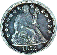 1852 O Seated Liberty Dime