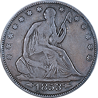 1853 Seated Liberty Half Dollar