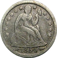 1854 Seated Liberty Dime