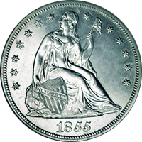 1855 Seated Liberty Dollar