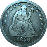 1856 S Seated Liberty Quarter