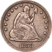 1858 Seated Liberty Dollar