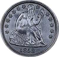 1858 O Seated Liberty Dime