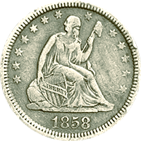1858 O Seated Liberty Quarter