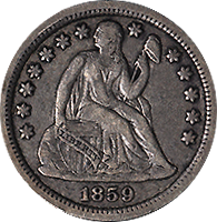 1859 Seated Liberty Dime
