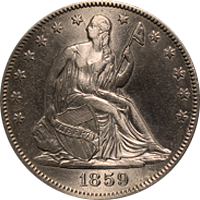 1859 Seated Liberty Dollar