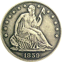 1859 S Seated Liberty Half Dollar