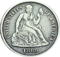 1860 Seated Liberty Dime