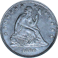 1860 Seated Liberty Quarter