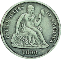 1860 O Seated Liberty Dime