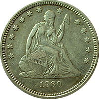 1860 O Seated Liberty Quarter