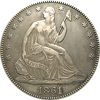 1861 S Seated Liberty Half Dollar