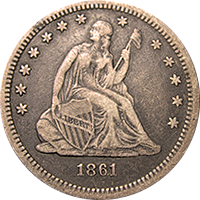 1861 S Seated Liberty Quarter
