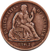 1863 Seated Liberty Dime