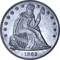 1863 Seated Liberty Dollar