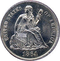 1864 Seated Liberty Dime