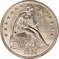 1864 Seated Liberty Dollar