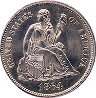 1864 S Seated Liberty Dime
