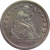 1864 S Seated Liberty Quarter