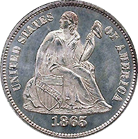 1865 Seated Liberty Dime