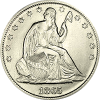 1865 Seated Liberty Half Dollar