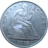 1865 S Seated Liberty Half Dollar