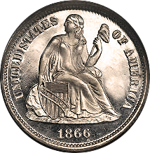1866 Seated Liberty Dime