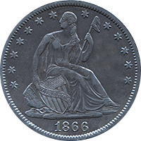 1866 Seated Liberty Half Dollar