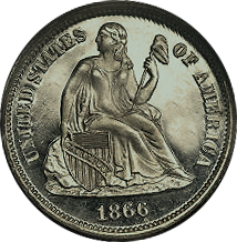 1866 S Seated Liberty Dime