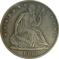 1866 S Seated Liberty Half Dollar