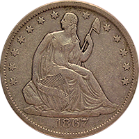 1867 Seated Liberty Dollar