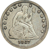 1867 S Seated Liberty Quarter