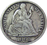 1868 Seated Liberty Dime