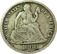 1868 S Seated Liberty Dime