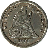 1868 S Seated Liberty Quarter