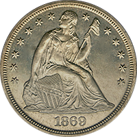 1869 Seated Liberty Dollar