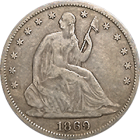 1869 S Seated Liberty Half Dollar